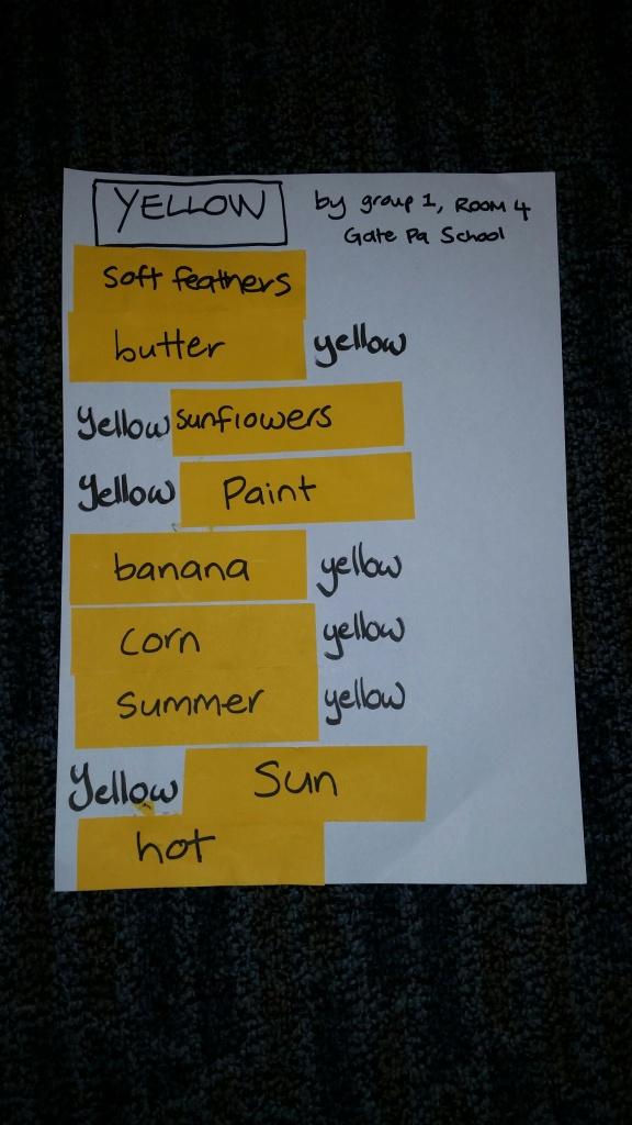Gate Pa school poem - yellow
